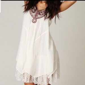 Free People Embroidered neckline dress off-white